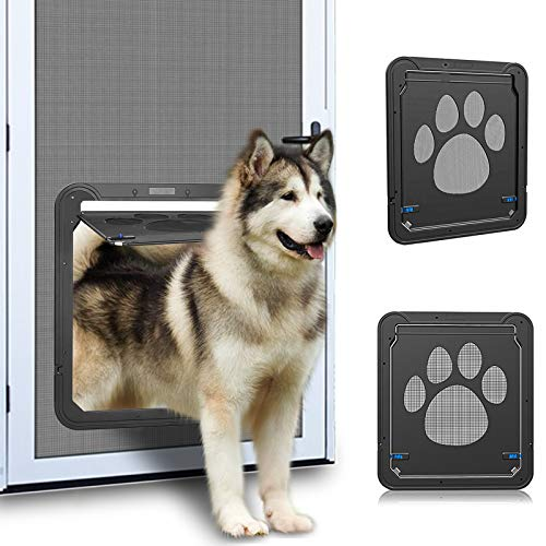 Ownpets Screen Dog Door, Inside Door 12x14x0.4 inch, Lockable Pet Screen Door with Magnetic Self Closing Function, Screen Door for Dogs &Cats