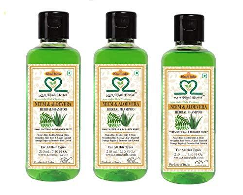 S2M Khadi Herbal Neem Aloevera Shampoo ( NO PARABEN ) Ayurvedic Anti Dandruff / Anti Fungal Hair Cleanser - 210ml ( Set of 3)