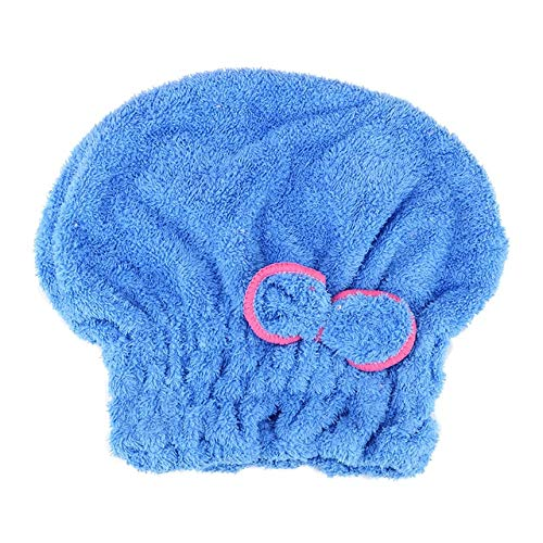 Heliansheng Gorro de Pelo de Secado rápido de 5 Colores, Gorro de baño, Envoltura de Toalla de baño de Microfibra-Azul-G2