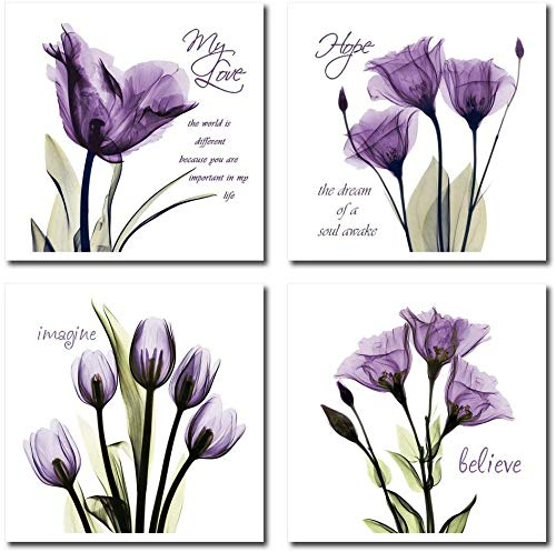 YAJI Purple Tulip Flower Canvas Wall Art - Flickering Flower Canvas Prints- Inspirational Quotes Canvas Picture Print Purple Home Decor 4 Panel Artwork(12×12in×4pcs)