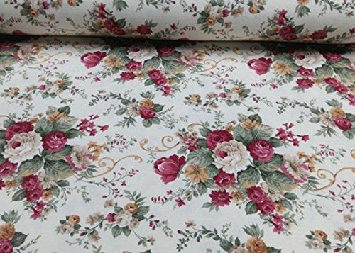 Meterware herrliche Rosen, Rosenstoff Irene, Landhausstil, Dekostoff, Breite 280 cm