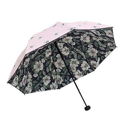 Mode Blume Sonnencreme Regenschirm SPF 50+ Damen Sonnenschirm Sonnenschutz UV-Schutz Damen Doppelter Winddichter Regenschirm (blau) (Farbe : Rosa)