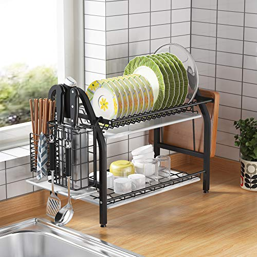 Dish Drying Rack, 1Easylife 2 Tier Dish Rack Stainless Steel with Utensil Knife Holder and Cutting Board Holder Dish Drainer with Removable Drain Board for Kitchen Counter Organizer Storage Black