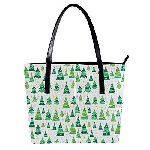 LORVIES Cartoon Weihnachtsbaum Umhängetasche PU Leder Handtaschen Damen