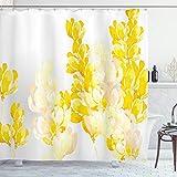 ABAKUHAUS Gelb & Weiß Duschvorhang, Wild Flowers, Trendiger Druck Stoff mit 12 Ringen Farbfest Bakterie & Wasser Abweichent, 175 x 200 cm, Gelb Weiß