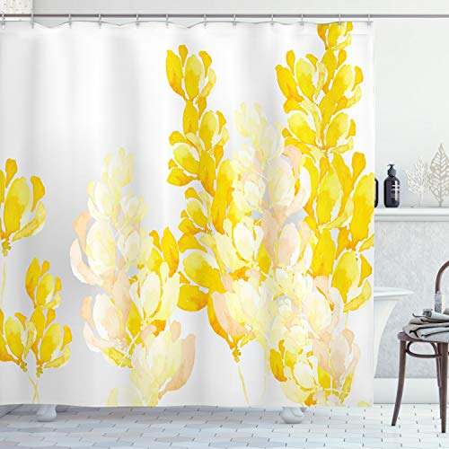 ABAKUHAUS Gelb und Weiß Duschvorhang, Wild Flowers, Trendiger Druck Stoff mit 12 Ringen Farbfest Bakterie und Wasser Abweichent, 175 x 200 cm, Gelb Weiß