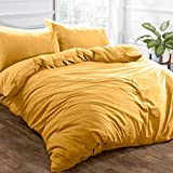 Brentfords Washed Linen Duvet Cover with Pillow Case Soft Brushed Microfiber Bedding Set, Ochre Yellow Mustard - Twin
