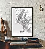 ZWXDMY Leinwand Bild,Peru Lima Stadtplan Schwarz Weiß