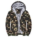 Giacca Outwear Felpa con Cappuccio da Uomo Mimetico Caldo Invernale (XL,1- Multicolore)