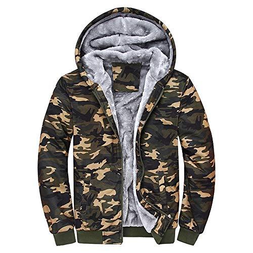 Xmiral Giacca Outwear Felpa con Cappuccio da Uomo Mimetico Caldo Invernale (5XL,1- Multicolore)