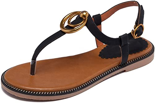 JIANXIN Sandales D'été Femme Bas Bas Talon Fond Plat étudiants Sandales Sandales De Plage Sauvages Orteil Sandales Femmes Chaussures (Couleur   Noir, Taille   EU 38 US 7 UK 5 JP 24.5cm)  boutique en ligne