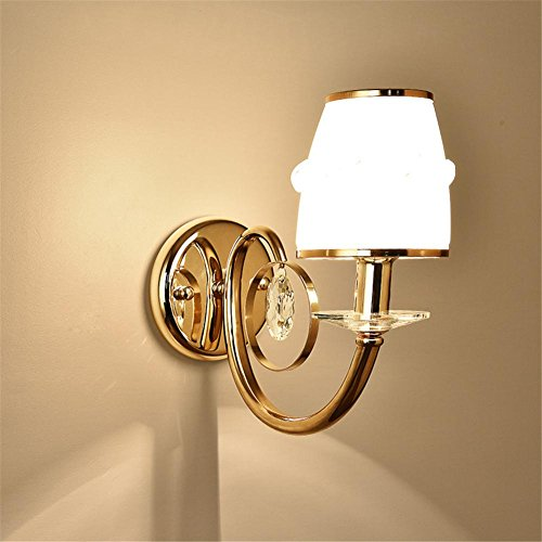 Atmko®Applique Murale Lampe murale moderne en acier de style européen Lampe de fer en cristal Art en cristal pour salon Chambre à coucher Salon de salle d'étude de couloir