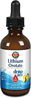 KAL Lithium Orotate Dropins, Chelated | Mood & Relaxation Support | Natural Lemon Lime Flavor | 2oz, Approx. 60 Serv.
