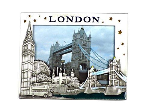 Bilderrahmen aus Metall, klein, Zinn-Effekt, Details Bilderrahmen london-big Ben, Tower Bridge, Busse und P156