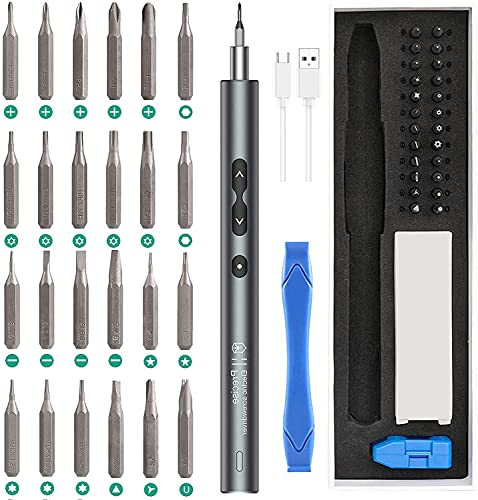 ORIA Electric Screwdriver (Newest) 28 IN 1 Precision Mini Power Screwdrivers Set with 24 Bits and USB Cable, Portable Magnetic Repair Tool Kit with LED Lights for Phones Watch Jewelers Computers