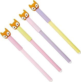 kikki.K Slow Down Collection - Slim Ballpoint Pens Novelty Fox Toppers 4pk in Multi, Silver Hardware, Ballpoint 1.0mm Nib,...