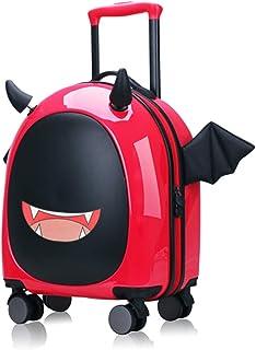 Kids Hardside Luggage, 16 inch Kid Carry On Luggage Cute Little Demon Design with Emoji Sticker by Sindermroe (Red)