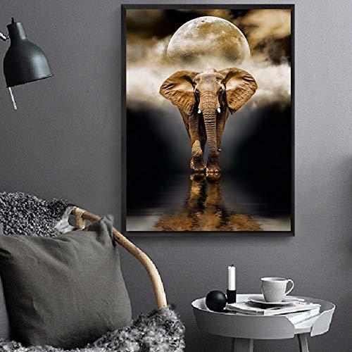 wZUN Pintura de la Lona Arte de la Pared Luna Elefante Paisaje decoración del hogar Mural Sala de Estar Moderna impresión de la Lona 50x70 cm
