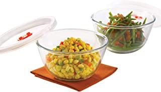 Borosil - IY22BS01250E Basics Glass Mixing Bowl with lid - Set of 2 (500ml) Microwave Safe