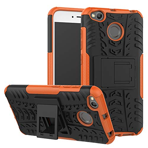 pinlu® Funda para Xiaomi Redmi 4X Smartphone Doble Capa Híbrida Armadura Silicona TPU + PC Armor Heavy Duty Case Duradero Protección Neumáticos Patrón Naranja