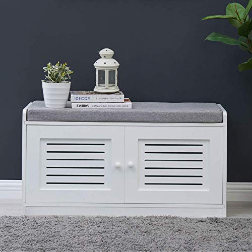Sturdis Shoe Storage Bench White - Cushion Seat - Adjustable Shelves - Soft-Close Hinges - for Comfort & Style, Perfect for Entryway First Impression!