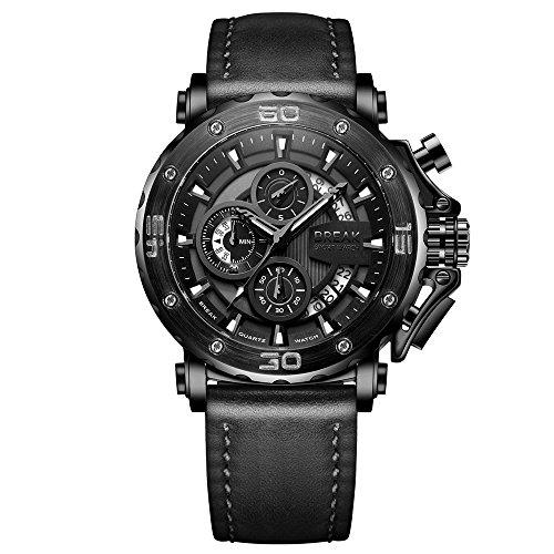 BREAK Hombres Relojes Bullet Pioneer Design Reloj Deportivo Impermeable con cronógrafo analógico de Cuero Genuino Pantalla de Fecha Reloj de Pulsera Negro
