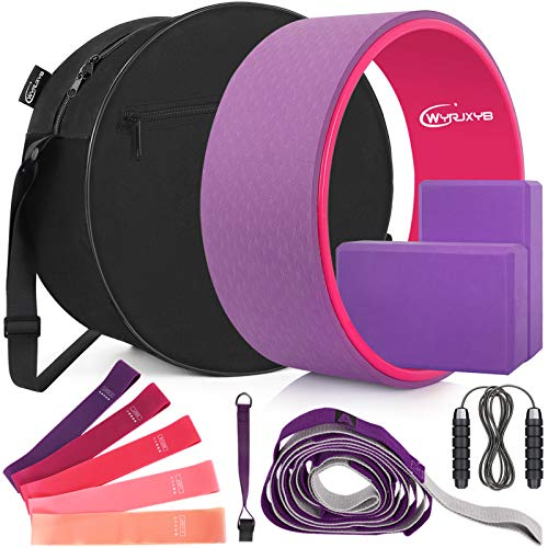 Yoga Wheel Set (11-in-1),Yoga Wheel Back Wheel for Back Pain, Yoga Blocks 2 Pack with Strap, Resistance Bands,Yoga Wheel Bag, Perfect Yoga Accessory for Stretching and Improving Backbends (Purple)