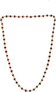 Shree Shyam Gems And Jewellery Unisex Gold Plated 24K Yellow Copper Rudraksha Mala| 5 Mukhi Rudraksha Mala| Rudraksha Chain