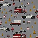 Baumwollstoff Feuerwehr, Polizei, Krankenwagen, grau (50cm