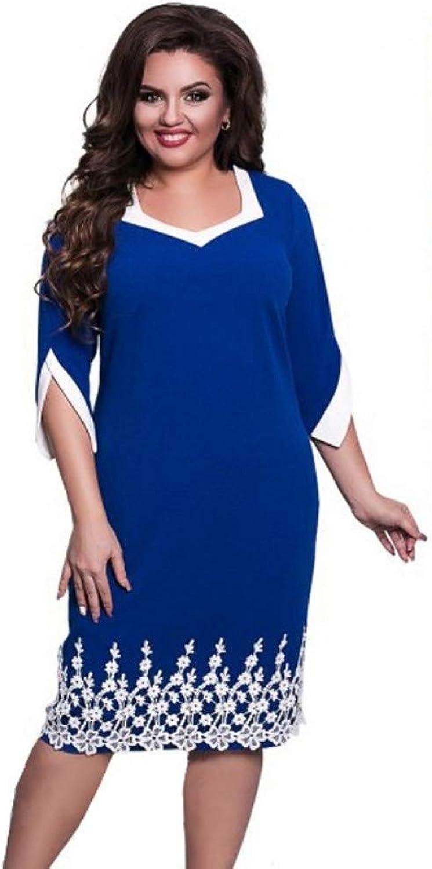 XIAOPANGHAI Women Lace Patchwork Dress Elegant Lady Office Party Dresses Large Size Casual Loose Beach Dresses Plus Size