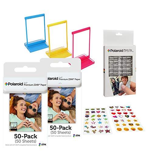 Polaroid 2x3ʺ Premium ZINK Papel Fotográfico Paquete de foto Clip