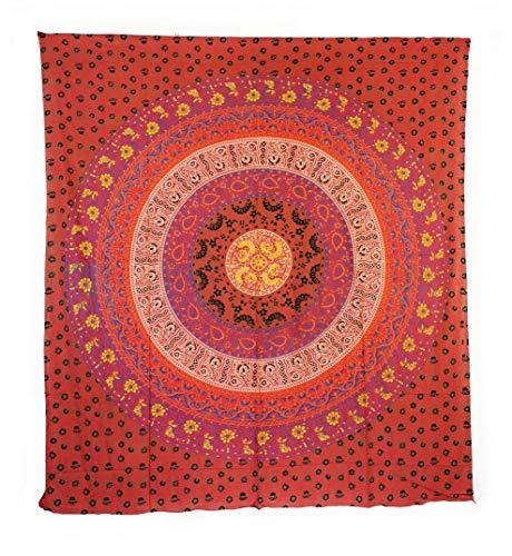 Aga's Own Indische Mandala Tagesdecke, Wandtuch, Tagesdecke Mandala Druck - 100prozent Baumwolle, 210x240 cm, Bettüberwurf, Sofa Überwurf (Muster 08)