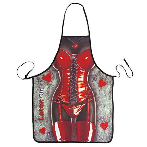 bestomz Küchenschürze für die Küche, Neuheit Schürze von Damen Leder Sexy bedruckt Grill Schürze-Kochfeld
