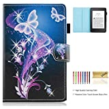 Dteck Slim Case for Kindle Paperwhite with Stylus (6 Inch, 10th Generation, 2019 2018 2017 2016 2015 2014 2013 2012) - Light Weight Protective Leather Smart Wallet Folio Cute Cover-Learning Time