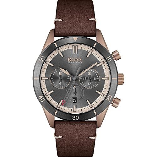 Hugo BOSS Mens Chronograph Quartz Uhr mit Leder Armband 1513861