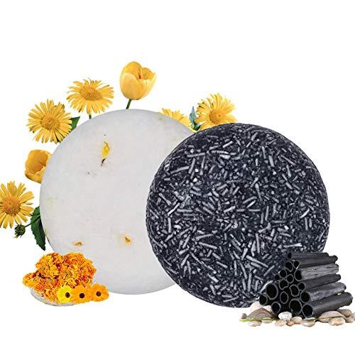 100% Vegan Shampoo Bar fürs Haar 2 Stücke Festes Shampoo HaarseifeNaturkosmetik für Behandeltes Trockenes Geschädigtes Haar für Damen Herren (Bambuskohle und Ringelblume)