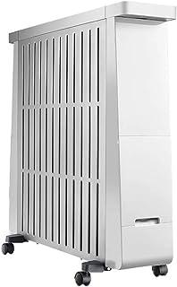 DW&HX Calentador Radiante Lleno de Aceite, Electrónico Pantalla led de Ahorro de energía Radiador de Aceite con tendedero Control del termostato, 4 Ruedas (13 Piezas) -Blanco