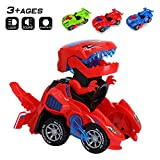 Odizli Transforming Dinosaur LED Car Toys for Kid Boys Halloween (Red)