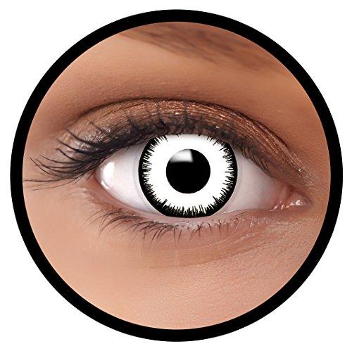 Farbige Kontaktlinsen weiß Vampir | Ideal für Halloween, Karneval, Fasching oder Fastnacht | Inklusive Behälter von FXEYEZ | Ohne Stärke als 2er Pack