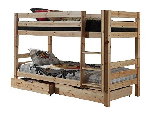 Vipack PICOSBLA10 Etagenbett Pino, Maße 210 x 140 x 105 cm, Liegefläche 90 x 200 cm, Kiefer massiv Natur lackiert