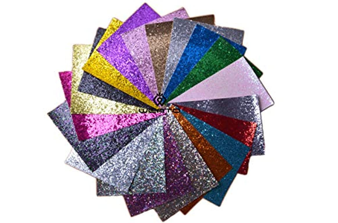 """Wento Assorted Colors 20pcs 12"""" x 12"""" (30cm x 30cm) Sparkly chunky glitter fabric,glitter fabric sheets For Hair Bows making,Sewing DIY Crafts Glitter Fabric Convas on reverse so3747714521445"""