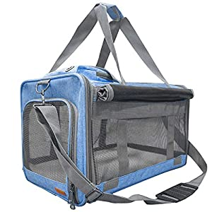 BELPRO Cat Carriers Dog Soft-Sided Carriers with 2 Curtains, Pet Carrier Bag Airline Approved for 15 Lbs Puppies/Kitten, 5 Mesh Windows, 1 Large Pocket for Comfortable Traveling