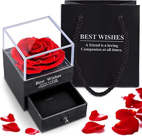 Rosa real conservada Regalo de San Valentín para mujeres, caja rosa real eterna hecha para San Valentín Día de la Madre Aniversario de Boda Regalo de Cumpleaños