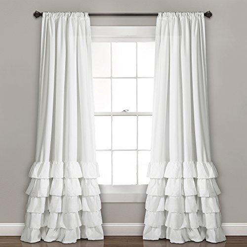 "Lush Decor, White Allison Ruffle Curtains-Window Panel Drapes Set for Living, Dining Room, Bedroom (Pair), 84"" x 40"", 84"" L"