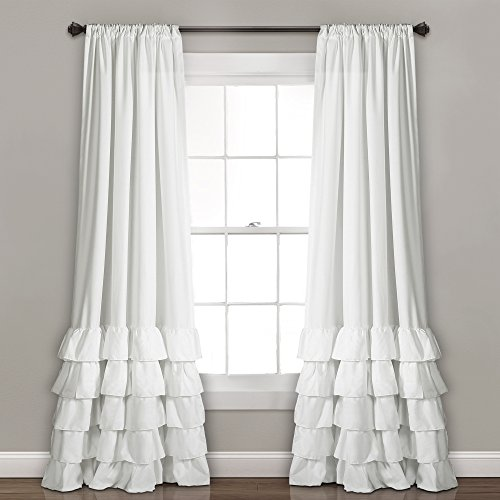 Lush Decor, White Allison Ruffle Curtains-Window Panel Drapes Set for Living, Dining Room, Bedroom (Pair), 84' x 40', 84' L