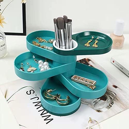 Caja de joyería Caja de joyería de 5 Capas Pendiente/Collar Caja de Anillo Caja de cosméticos Caja de Almacenamiento de Joyas para Pendiente Joyería Organiza Caso Organizador (Color : Blue)