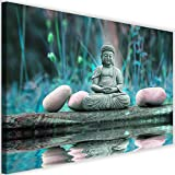 Cuadro en Lienzo Buda Calidad fotografica Agua Piedras Naturaleza azul 90x60 cm