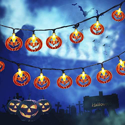 LCHUANG Halloween String Lights - 10 Feet 20 LEDs Decorations String Lights - Halloween Decorations Lights Battery Powered for Outdoor Indoor (Orange Pumpkin)