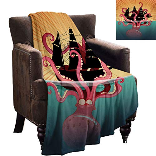 LanQiao Kraken - Manta de sofá con diseño de monstruo del mar de coral que se hunde en el barco, retro, mitos, océano, historias folclóricas, regalo para novia, 228,6 x 177,8 cm, multicolor