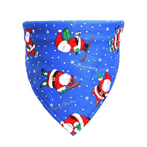 Shan-S Christmas Pet Saliva Towel, Dog Scarf Cat Christmas Decoration Scarf, Dog Bibs - Dog Bandana Scarf Bow Tiess Santa Claus Snowman Print Kerchief to Pets Christmas Headwear Costumes